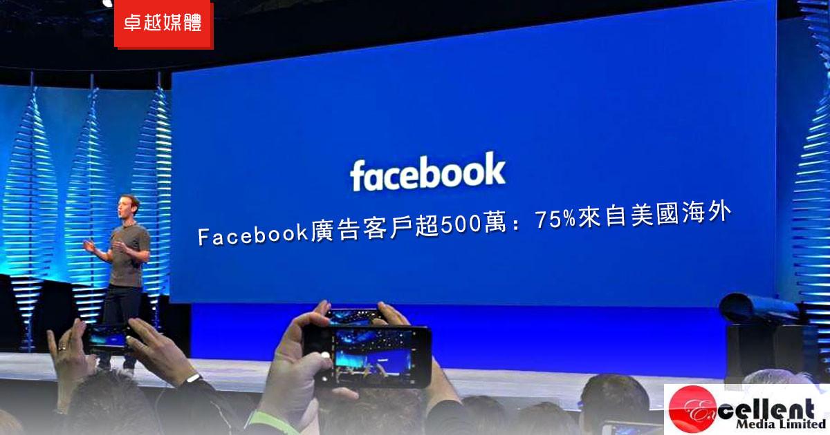 Facebook廣告客戶超500萬:75%來自美國海外